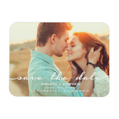 Hand Lettered Style Save The Date Wedding Photo Magnet at Zazzle