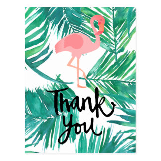 hand-lettered thank you flamingo on tropical palms postcard