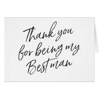"""Hand Lettered """"Thank you for being my best man"""" Card"""