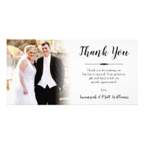 Hand-Lettered Thank You Wedding Photo Card