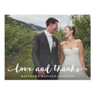 Wedding thank you cards zazzle hand lettered wedding thank you postcard junglespirit Image collections