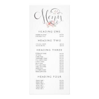 Hand Lettering Salon Stylist Menu Price List