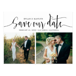 Hand Lettering Two Photo Save the Date Postcard