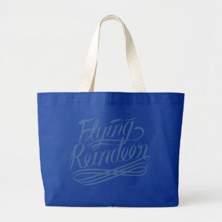 Hand Lettering Typography Design, Flying Reindeer Tote Bags