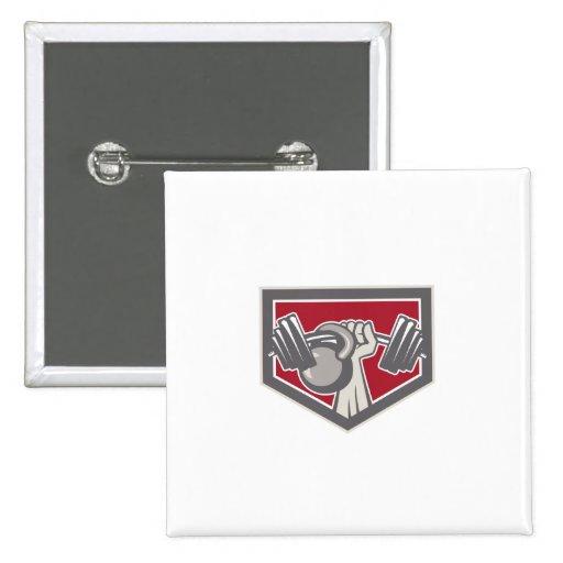 Hand Lifting Barbell and Kettlebell Shield Badge