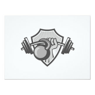 Hand Lifting Barbell Kettlebell Crest Grayscale 6.5x8.75 Paper Invitation Card