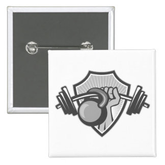 Hand Lifting Barbell Kettlebell Crest Grayscale Buttons