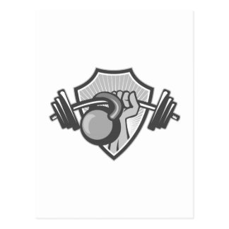 Hand Lifting Barbell Kettlebell Crest Grayscale Postcard