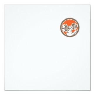 Hand Lifting Dumbbell Circle Retro 13 Cm X 13 Cm Square Invitation Card