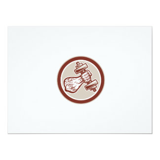 Hand Lifting Dumbbell Front Circle Retro 6.5x8.75 Paper Invitation Card