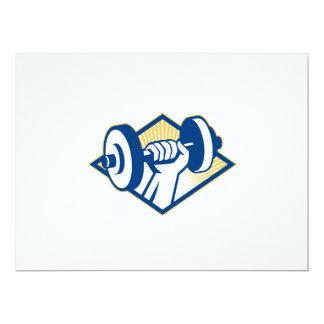 Hand Lifting Dumbbell Retro 6.5x8.75 Paper Invitation Card