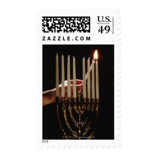 Hand lighting Menorah Stamps