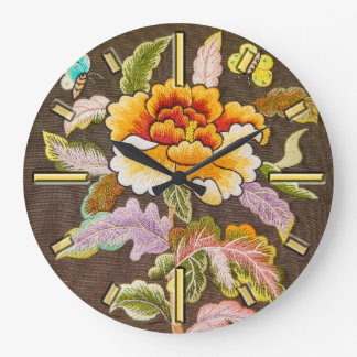 Hand made embroidery large clock
