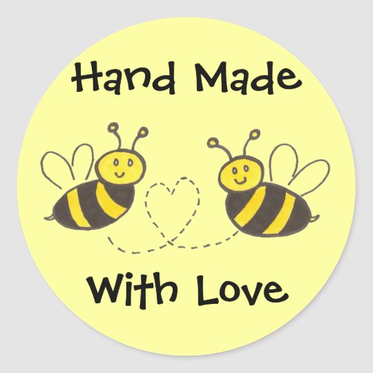 hand made with love honey bees with heart classic round