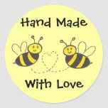 Hand Made with Love - Honey Bees with Heart Classic Round Sticker