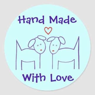 Hand Made with Love Stickers - Dogs with Heart