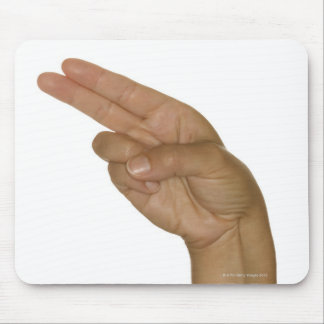 Hand making H sign Mouse Pad