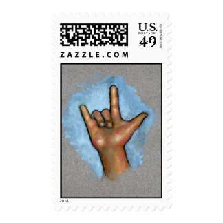 "Hand Making Sign For ""I Love You"": Sign Language Stamp"