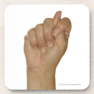 Hand making T sign Beverage Coaster