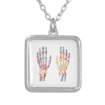 Hand Muscles Silver Plated Necklace