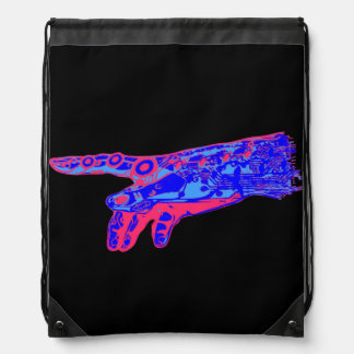 Hand of a Cyborg God (Red & Blue) Drawstring Backpack