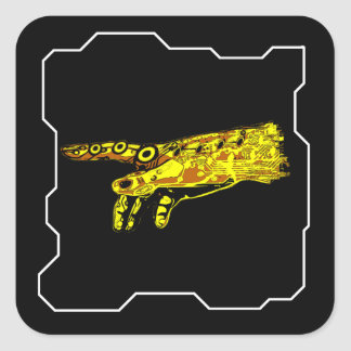 Hand of a Cyborg God (Yellow) Square Sticker
