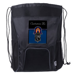Hand of Hamsa feat: Tree of Life Blue/Silver Drawstring Backpack