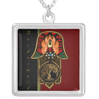 Hand of Hamsa feat: Tree of Life (Wedding) Silver Plated Necklace