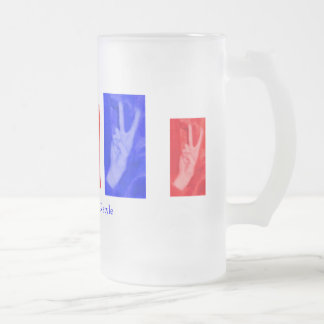Hand of Peace-Red and Blue Frosted Glass Beer Mug