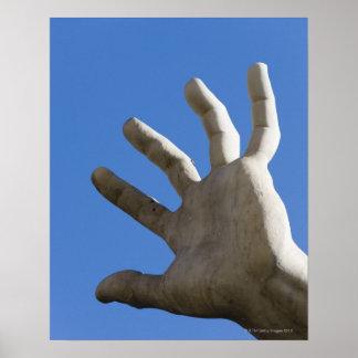 hand of statue on Fontana dei Quattro Fuimi, Poster
