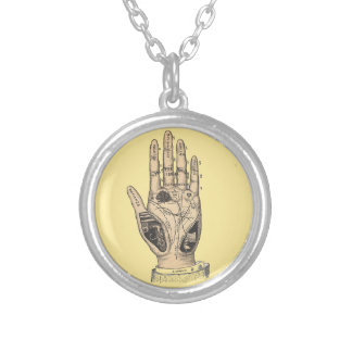 Hand Of ThePoet Round Pendant Necklace