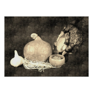 Hand of witch preparing herbs poster