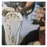 Hand on a Lacrosse Stick Large Square Tile