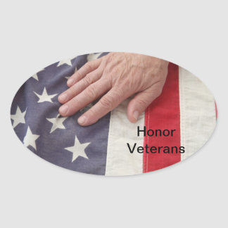 hand on American flag sticker
