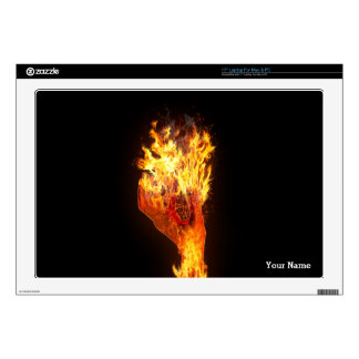 Hand on fire skin for laptop