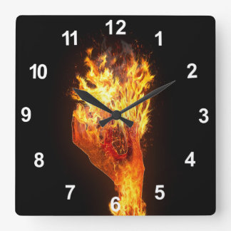 Hand on fire square wall clock