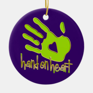 hand on heart ceramic ornament