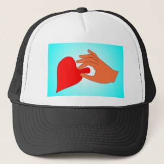 hand-on-heart trucker hat