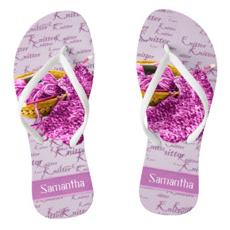Hand Orchid and White Yarn Personalized Flip Flops