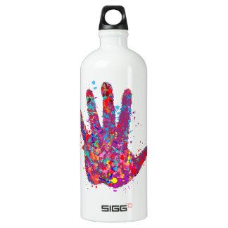 Hand, Outline, Drip Art Aluminum Water Bottle