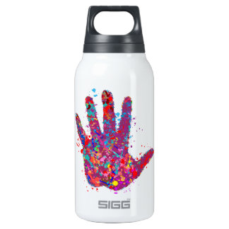 Hand, Outline, Drip Art Insulated Water Bottle