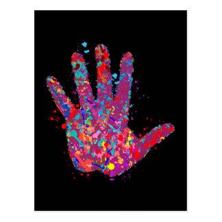 Hand, Outline, Drip Art Postcard
