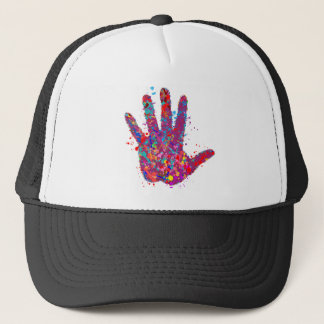 Hand, Outline, Drip Art Trucker Hat