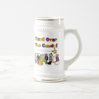Hand Over the Candy Halloween Tshirts and Gifts 18 Oz Beer Stein
