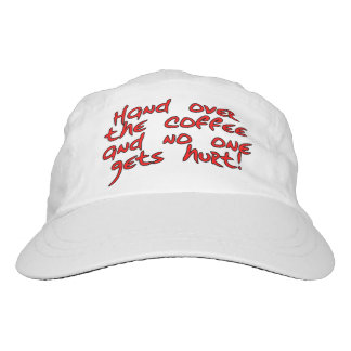 Hand over the coffee and no one gets hurt! hat