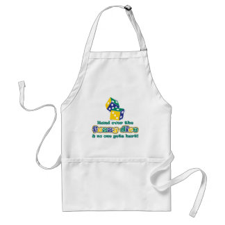 Hand over the fuzzy dice adult apron