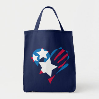 Hand Over Your Heart Dark Grocery Tote Bag