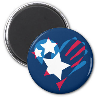 Hand Over Your Heart Round Magnet on Navy