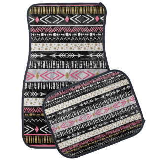 Hand paint tribal Aztec geometric design Car Floor Mat