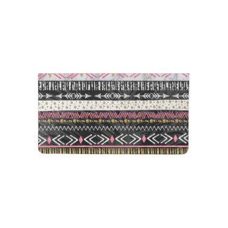 Hand paint tribal Aztec geometric design Checkbook Cover